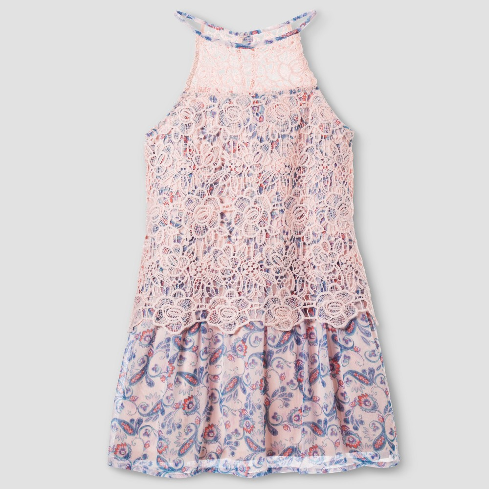 Girls Stella & Sienna Lace Popover A Line Dress 16, Multicolored