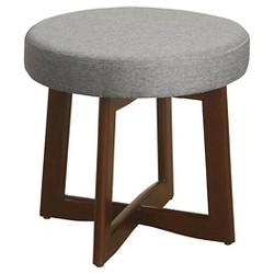 Mid Mod Upholstered Wood Base Stool - HomePop