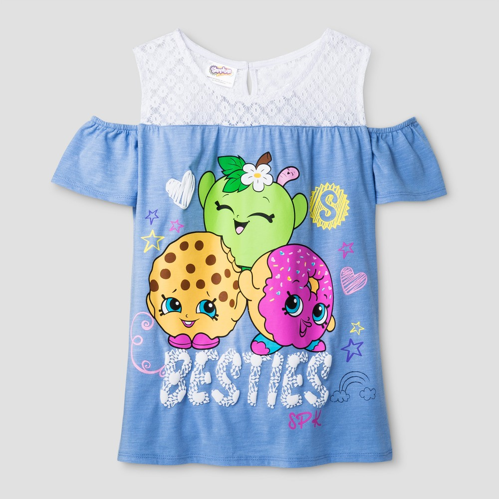 Girls Shopkins Besties Crochet Lace Top - Blue XL(14-16)