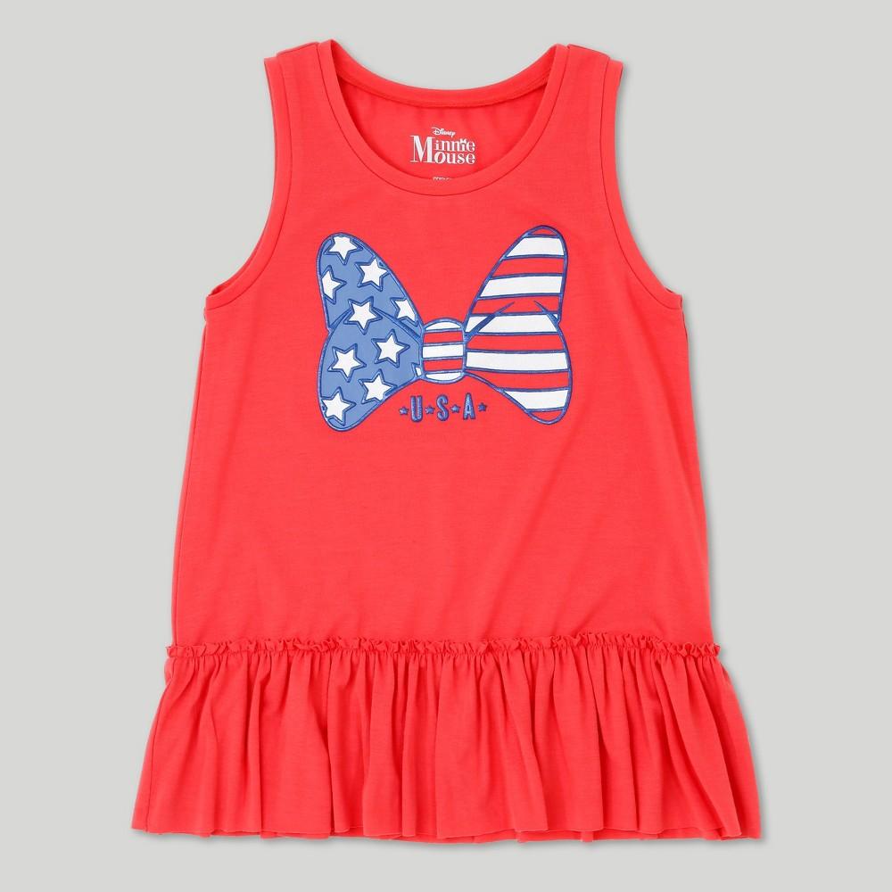 Girls Minnie Mouse Tank Top - Red M, Size: M (7-8)
