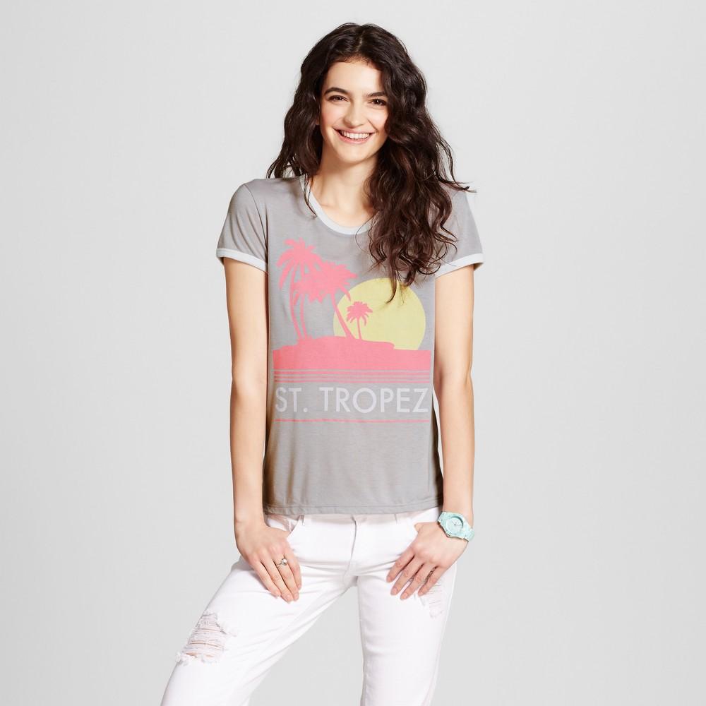 Womens St. Tropez Graphic Ringer T-Shirt Light Gray XS - Mighty Fine (Juniors)