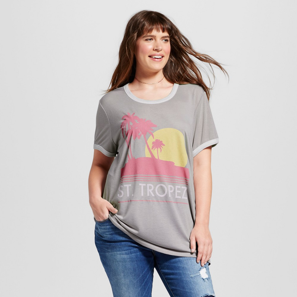 Womens Plus Size St. Tropez Graphic Ringer T-Shirt Light Gray 2X - Mighty Fine