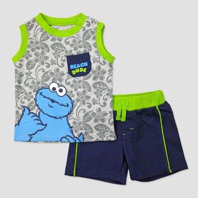 Baby Boys' Cookie Monster Muscle Tee & Shorts Set - Green 0-3M