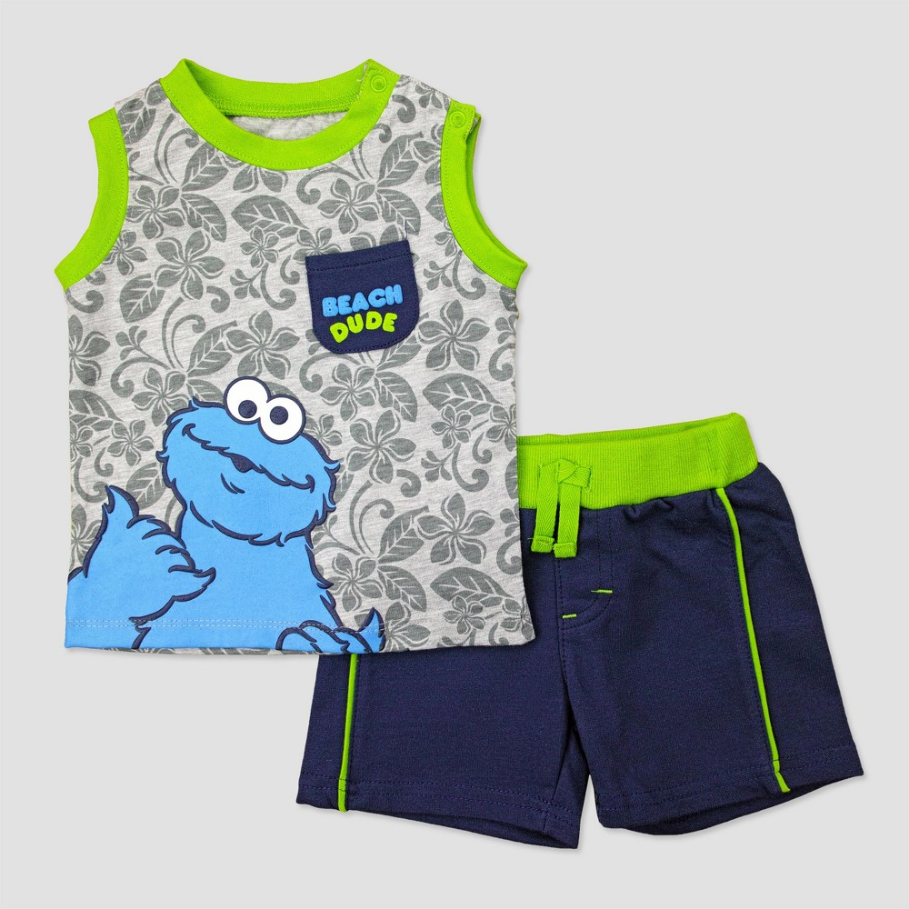Baby Boys Cookie Monster Muscle Tee & Shorts Set - Green 0-3M, Size: 0-3 M