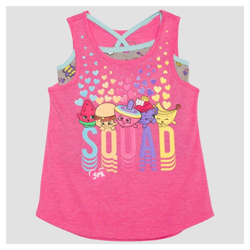 Girls Shopkins Twofer Tank Top - Pink XS, Size: XS (4-5)