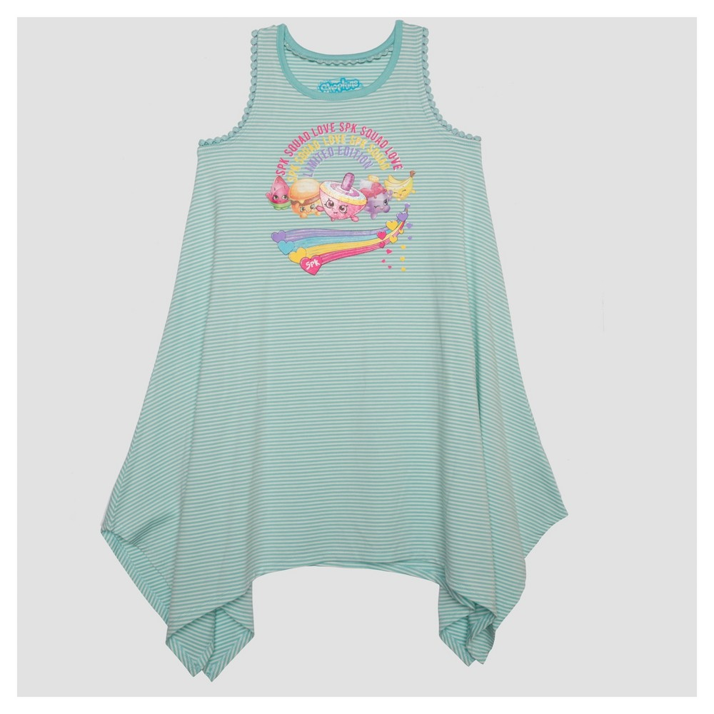 Girls Shopkins Sleeveless A Line Dress - Blue L, Size: L(10-12)