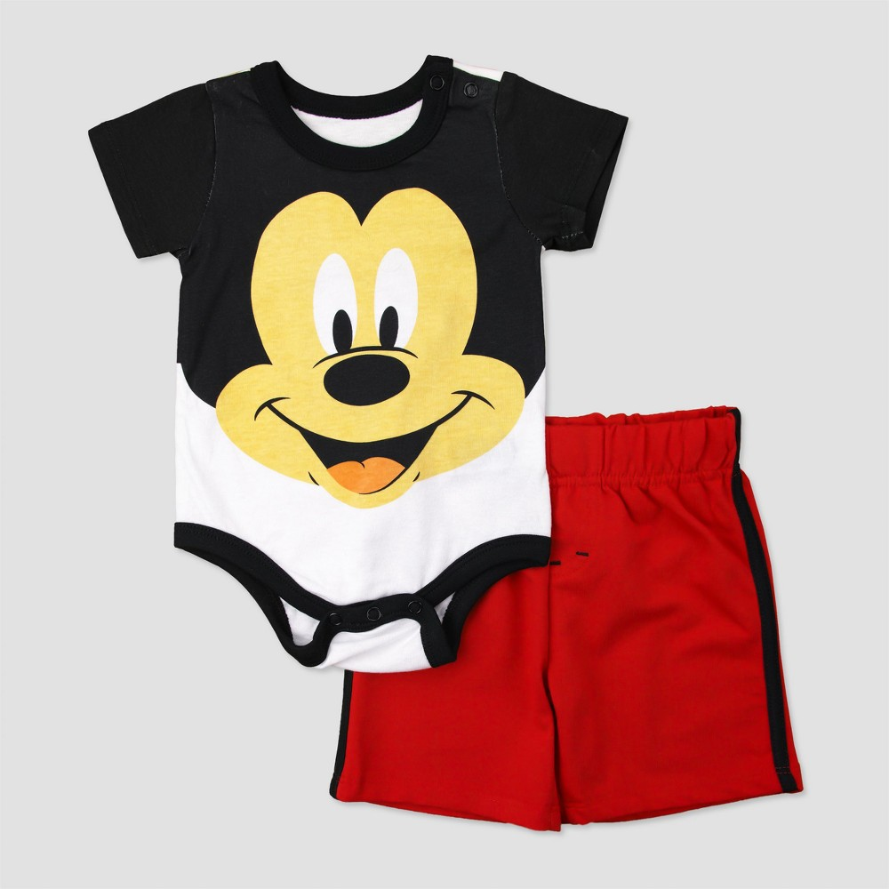 Baby Boys Mickey Mouse Bodysuit with French Terry Shorts - Black 0-3M, Size: 0-3 M