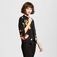 Women's Floral Print Fashion Jacket Black - Mossimo. opens in a new tab.