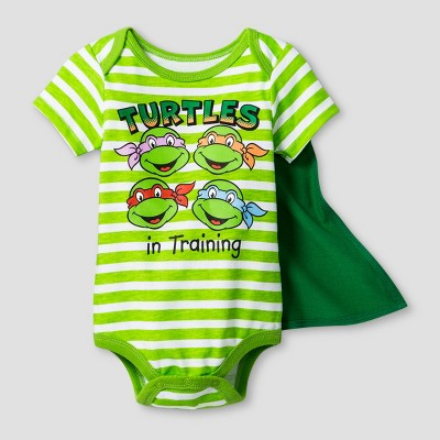 Baby Boys' Teenage Mutant Ninja Turtles in Training Bodysuit with Cape - Green 6-9M