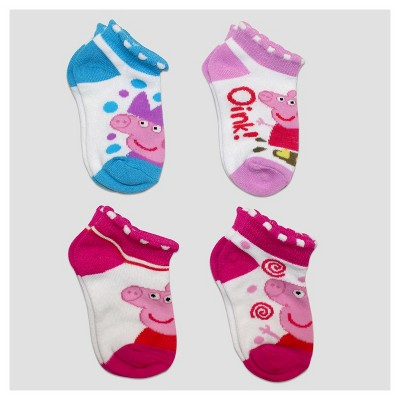 Baby Girls' Peppa Pig 4pk No Show Socks - White 12-24M