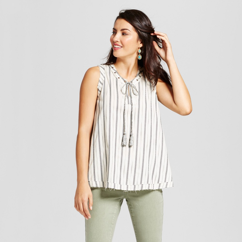 Womens Geo Stripe Tank with Grommet Neck Detail - Knox Rose Ivory M, White