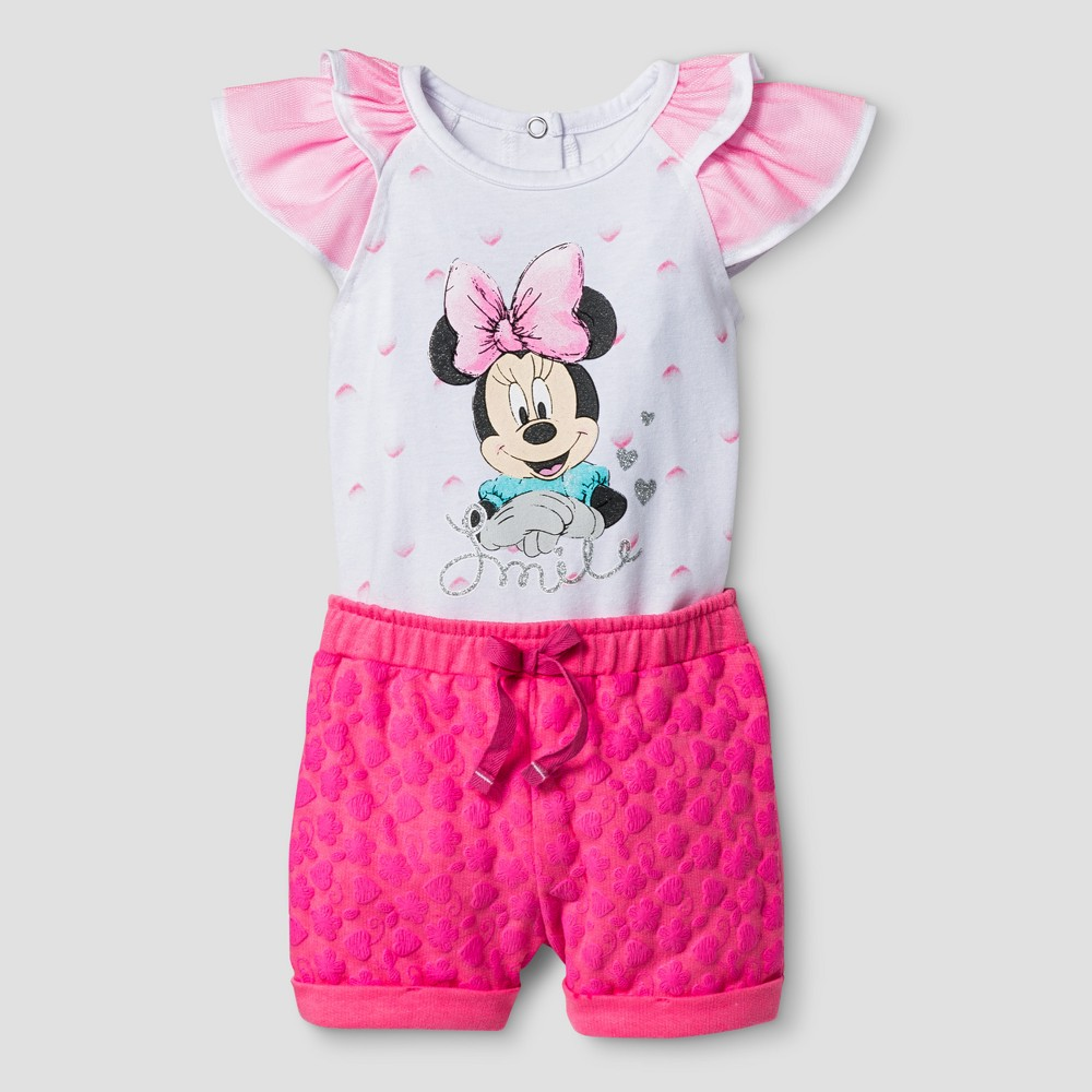 Baby Girls Minnie Mouse Flutter Sleeve Bodysuit with Shorts - Pink 3-6M, Size: 3-6 M