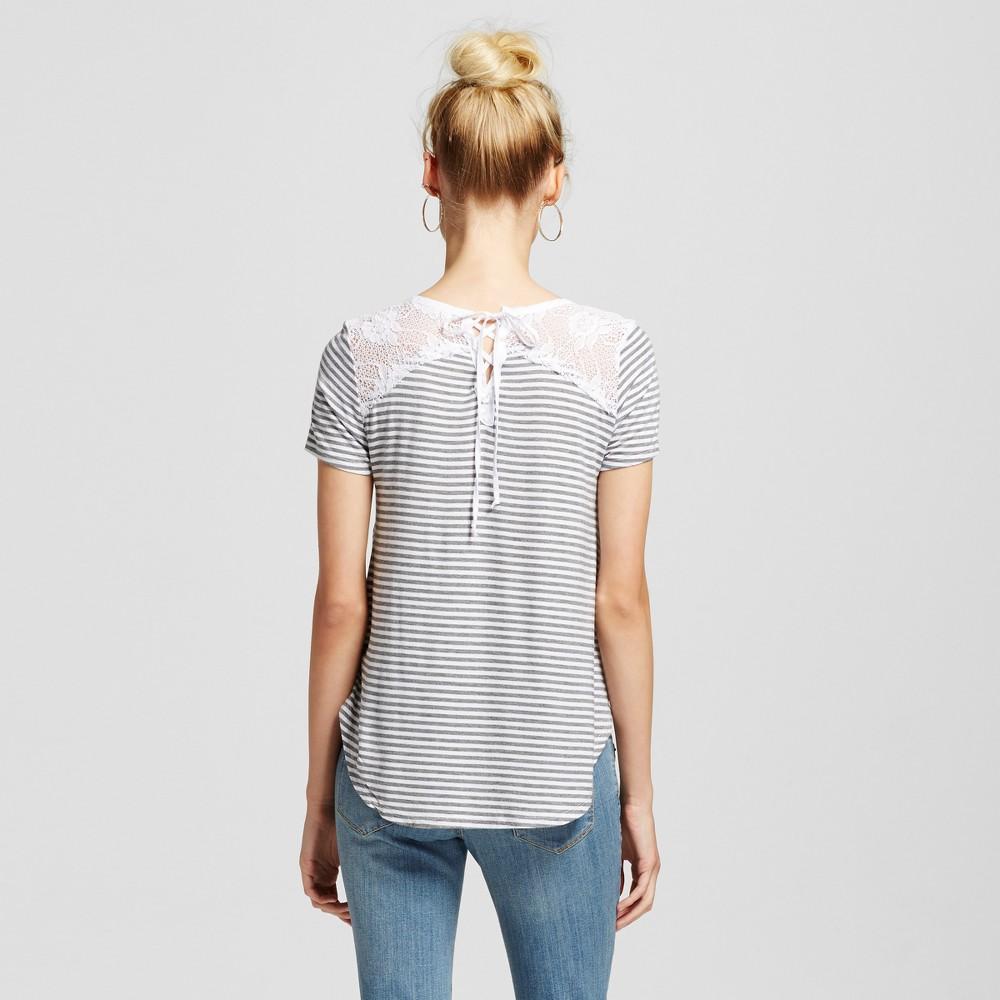Women's Lace Up Back Stripe Pocket T-Shirt Heather Gray M - Hint of Mint (Juniors')