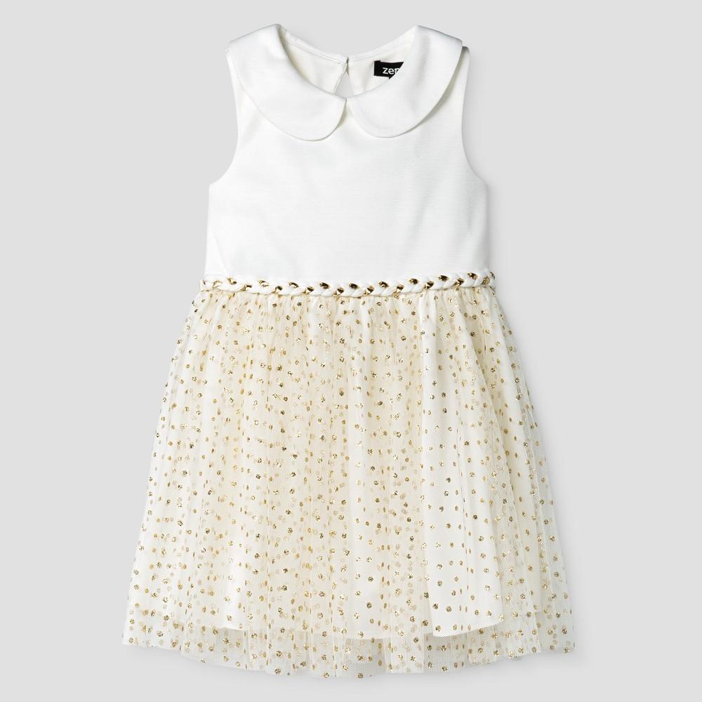 Zenzi Toddler Girls' Glitter Tulle A Line dress – Ivory 2T, Toddler Girl's, White