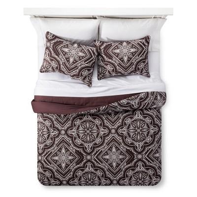 Brown Tile Print Comforter Set (King)3pc - The Industrial Shop™