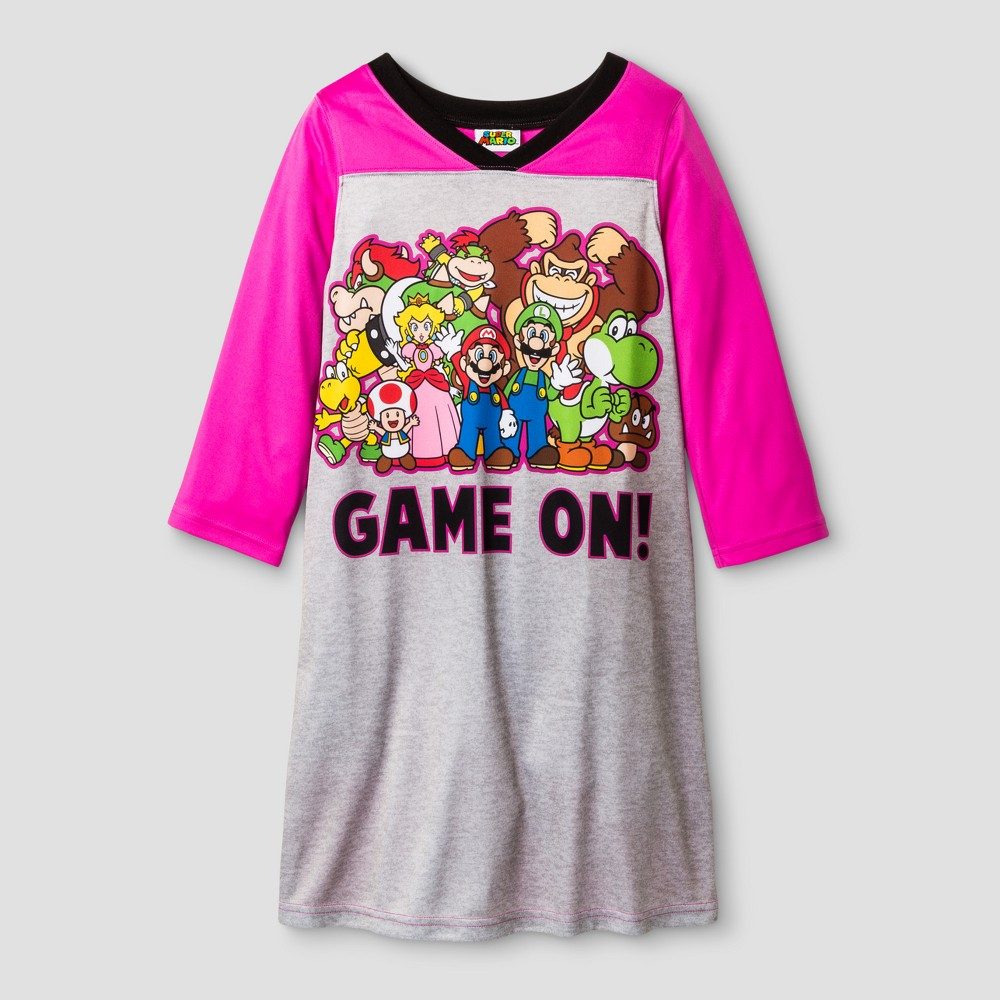 Nintendo Girls' Super Mario Nightgown - Gray 10