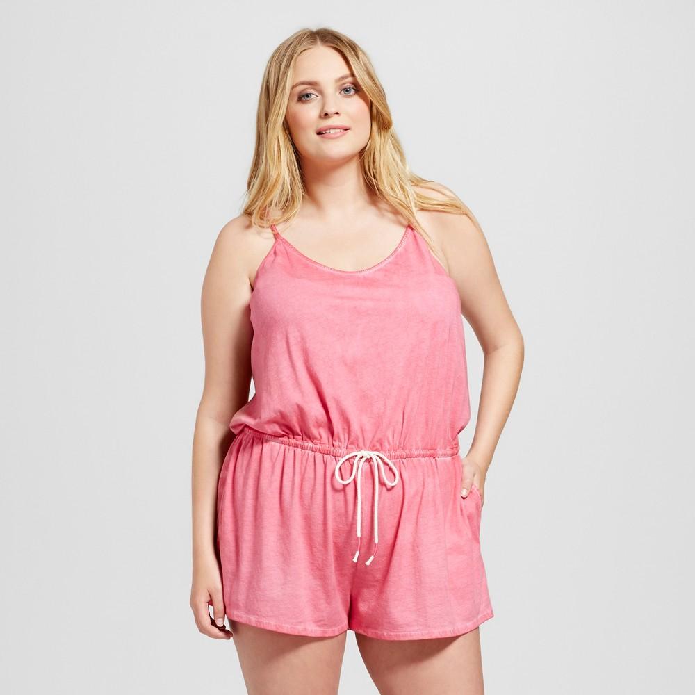 Womens Plus Size Sleep Romper - Xhilaration Paradise Pink 1X