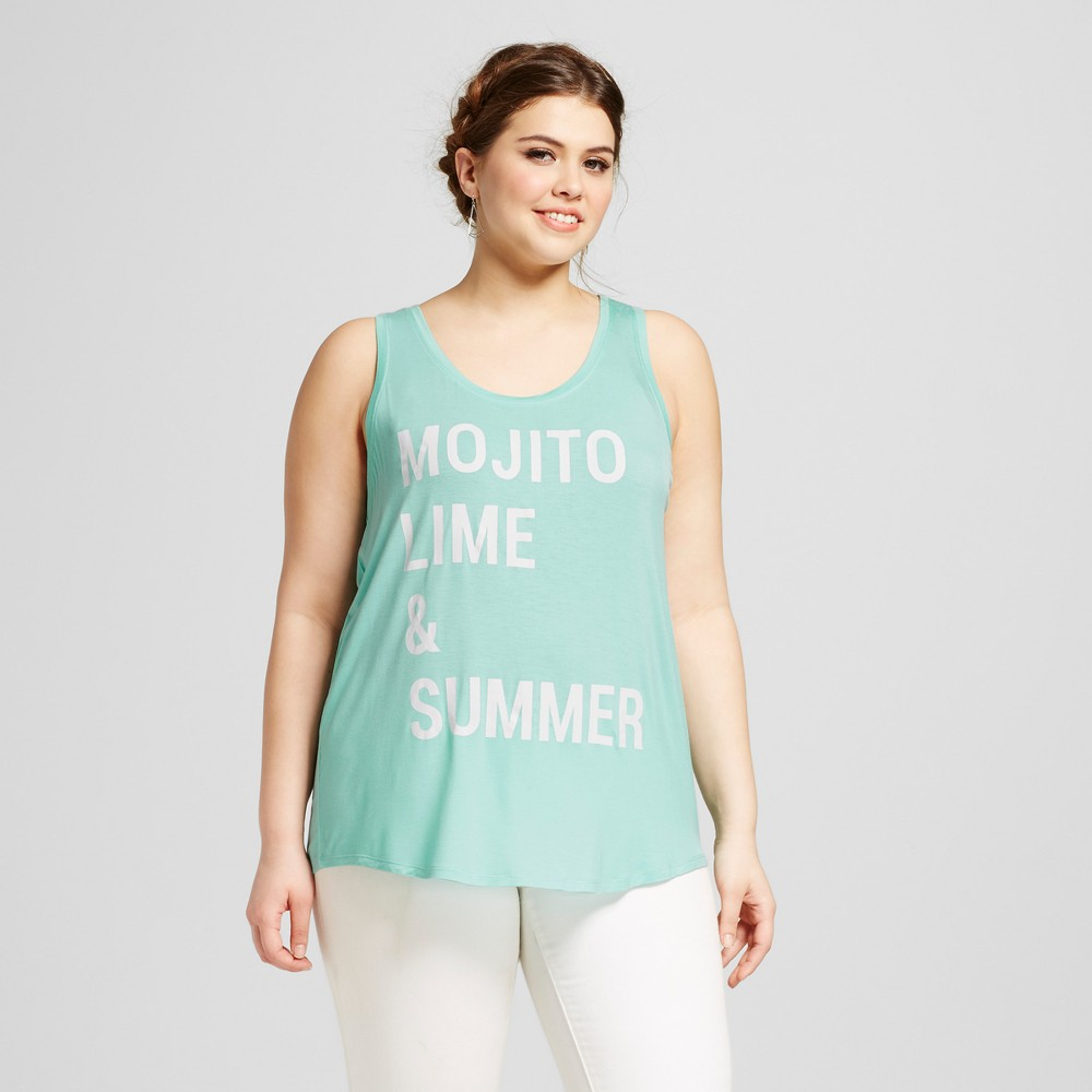 Womens Plus Size Mojito, Lime & Summer Graphic Tank Mint Green 3X - Grayson Threads, Blue