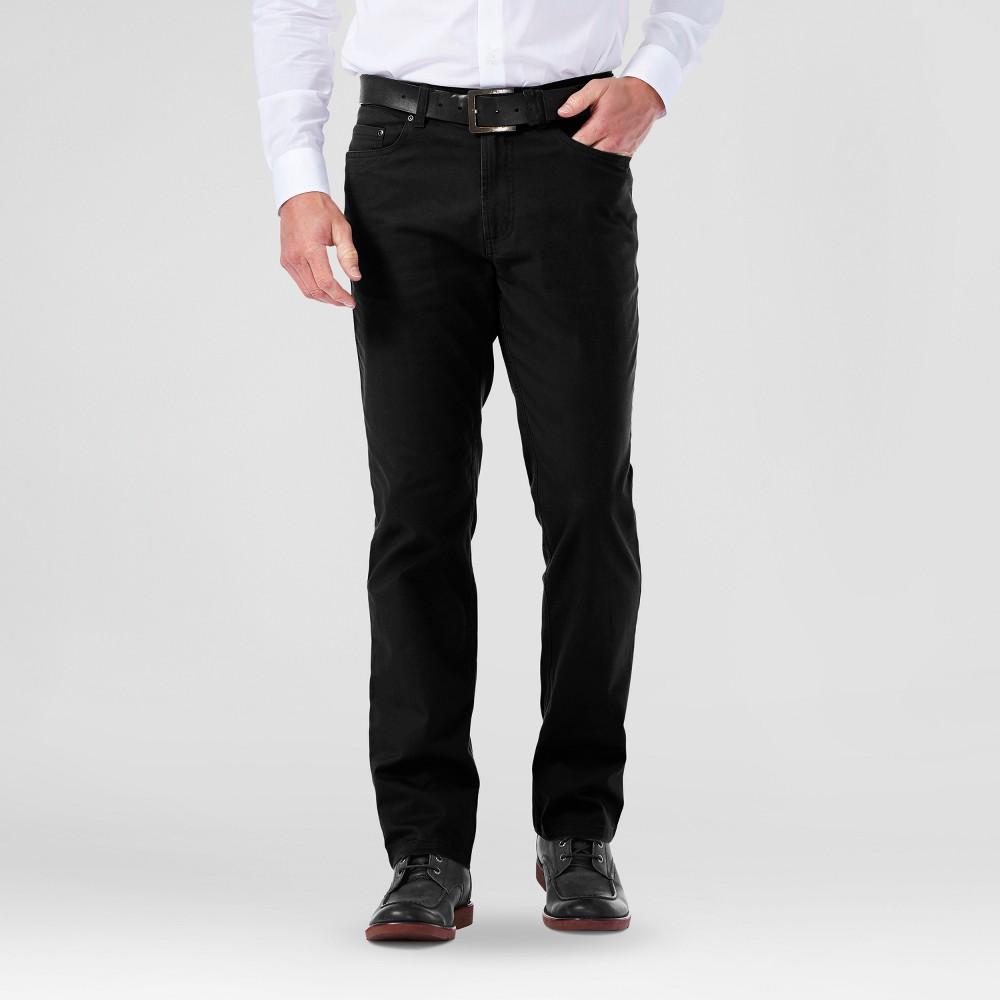 Haggar H26 Mens Slim 5 Pocket Stretch Pants- Black 34x32
