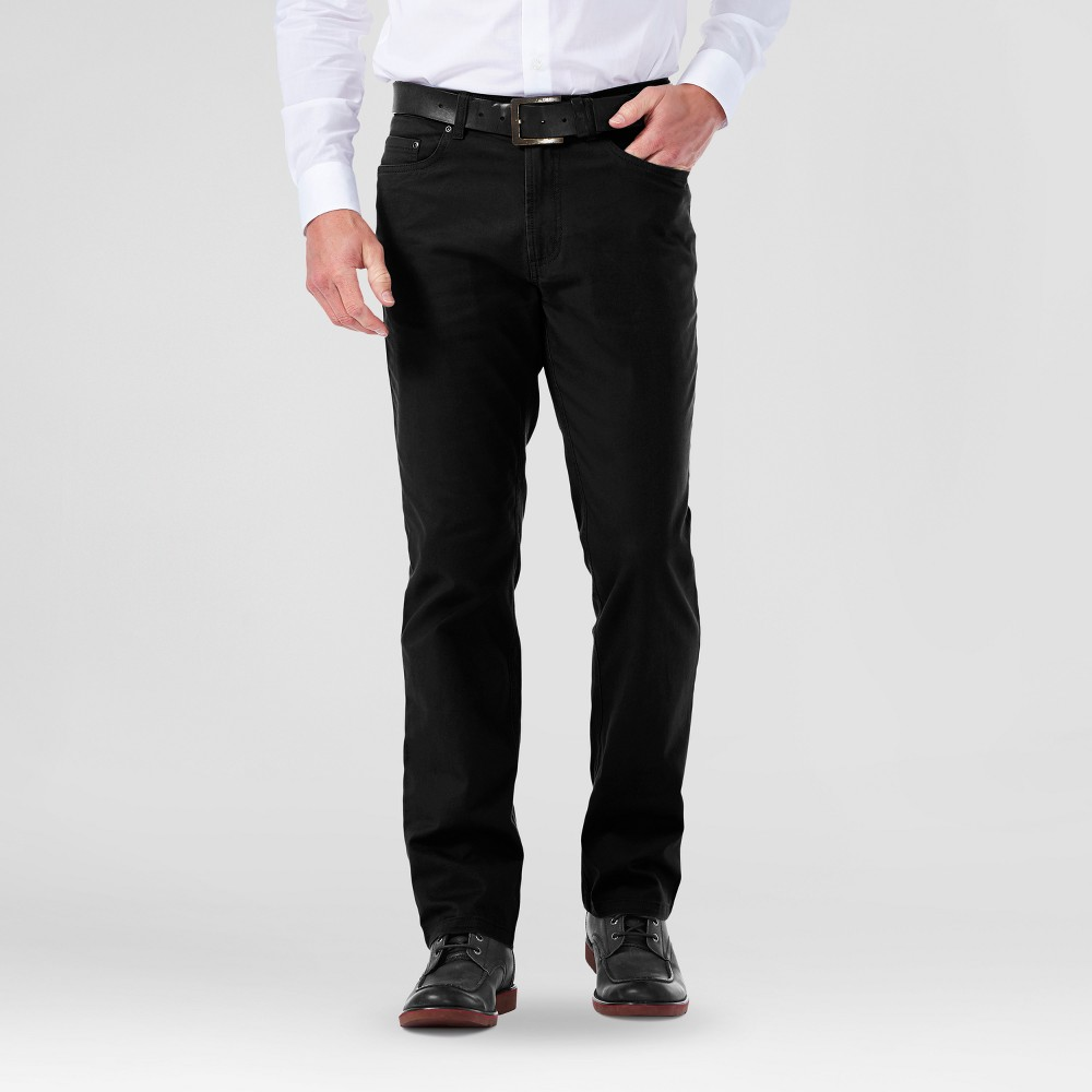 Haggar H26 Mens Slim 5 Pocket Stretch Pants- Black 38x32