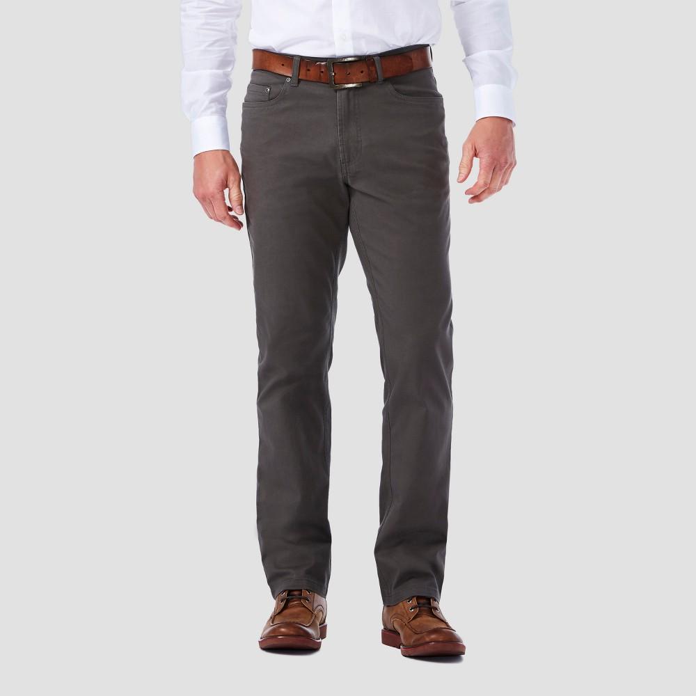 Haggar H26 Mens Slim 5 Pocket Stretch Twill Pants - Gray 32s29, Size: 32x29, Mid Gray