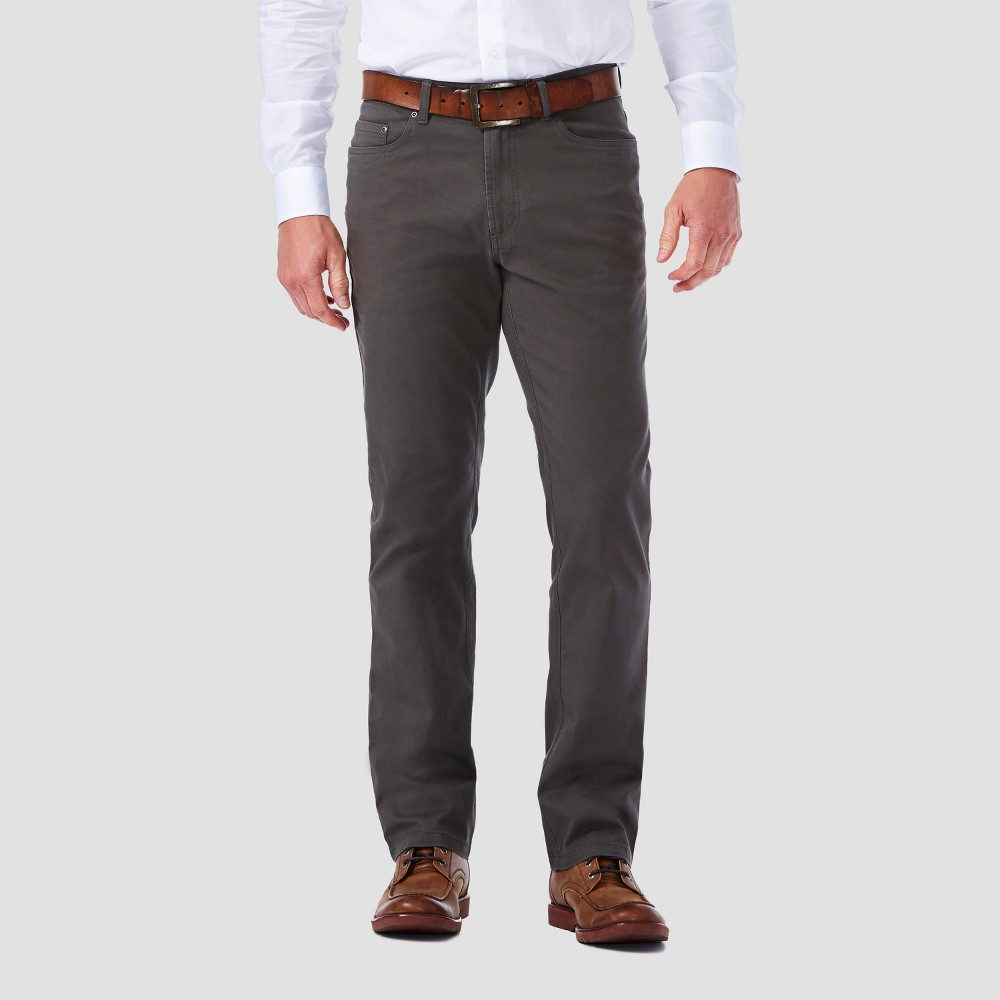Haggar H26 Mens Slim 5 Pocket Stretch Twill Pants - Gray 40x30, Mid Gray