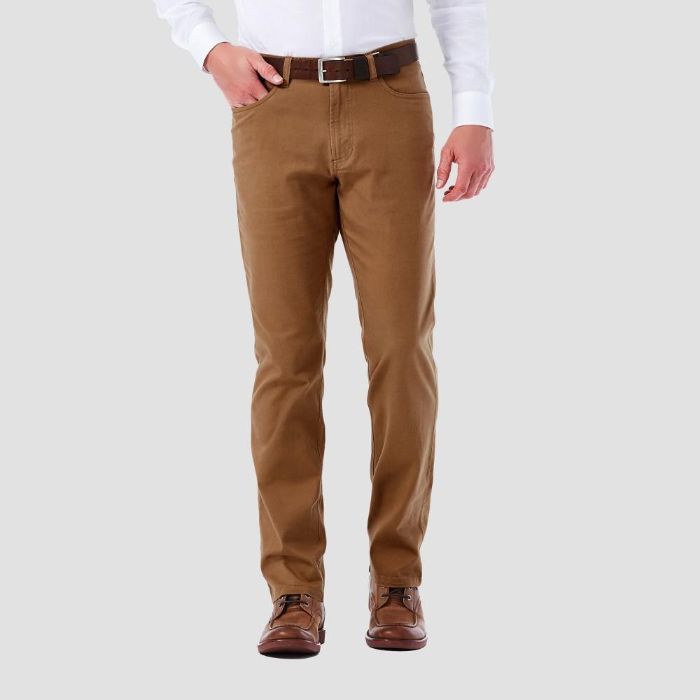 Haggar H26 Mens Slim 5 Pocket Stretch Twill Pants - Camel 38x32