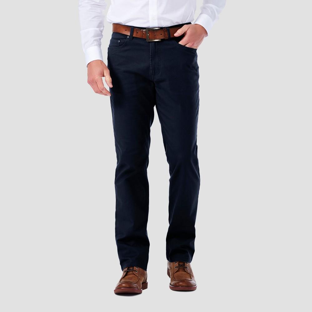 Haggar H26 Mens Slim 5 Pocket Stretch Twill Pants - Navy (Blue) 30x34