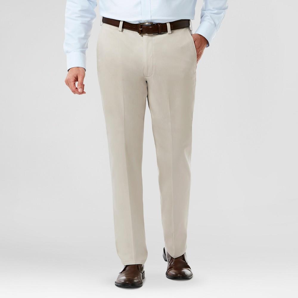 Haggar H26 Mens Classic Fit No Iron Stretch Khaki Pants- Sand (Brown) 33X32