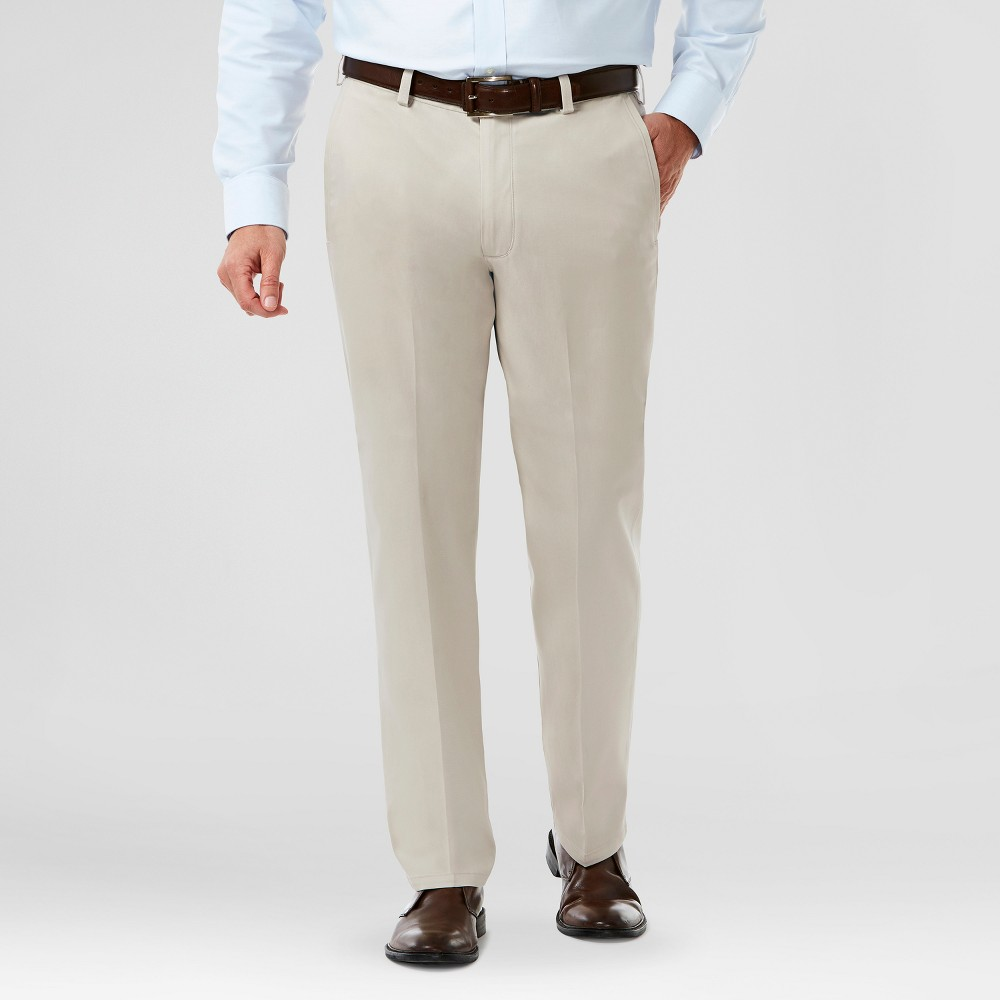 Haggar H26 Mens Classic Fit No Iron Stretch Khaki Pants- Sand (Brown) 42X29