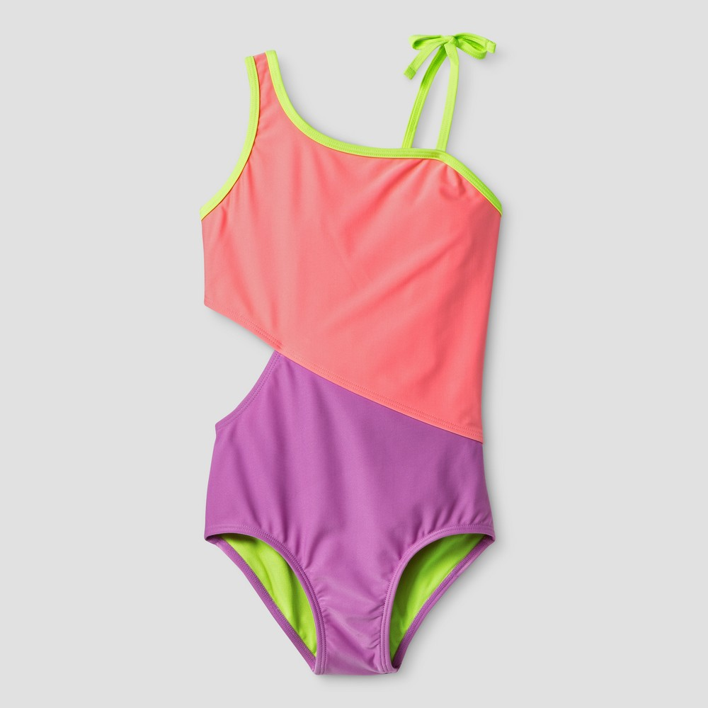Girls One Piece Swimsuit Colorblock Coral - Cat & Jack Coral Purple L, Pink