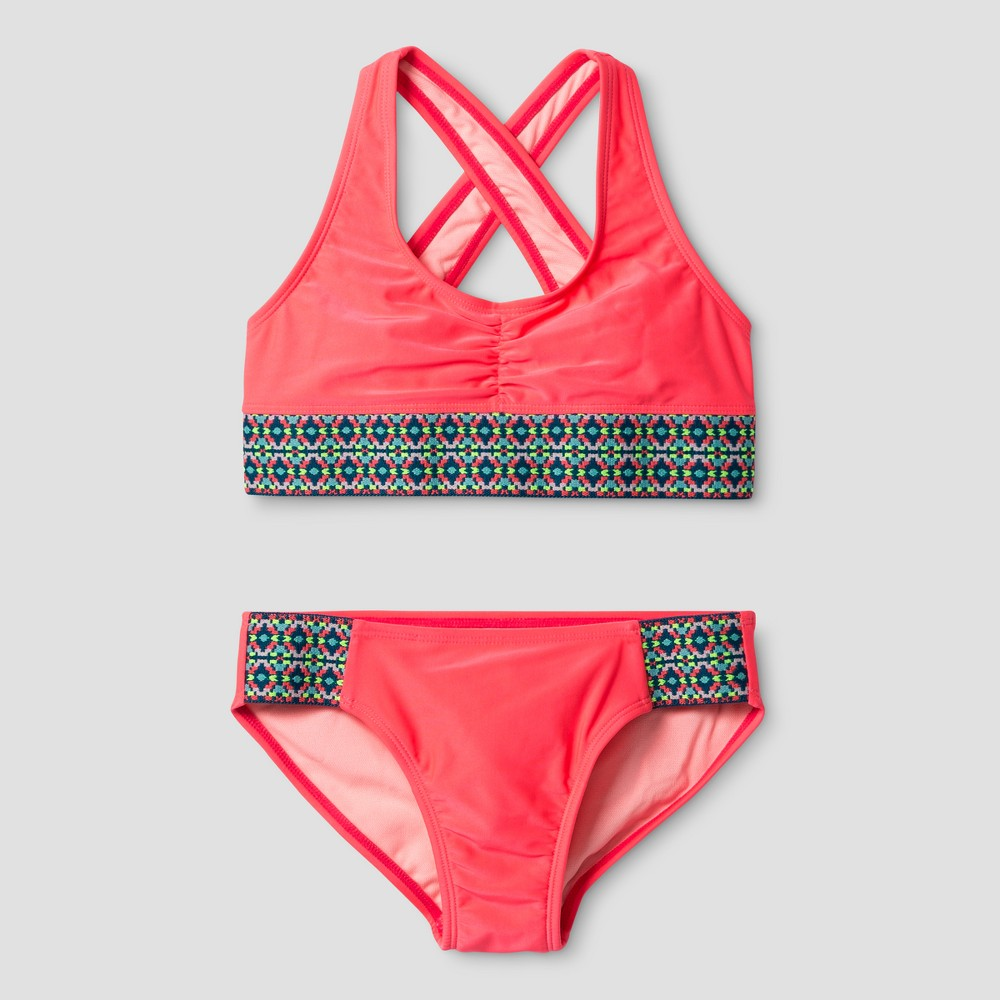 Girls Cross Back Bikini Cat & Jack - Coral S, Pink
