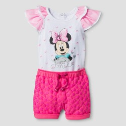 Baby Girls' Minnie Mouse Flutter Sleeve Bodysuit with Shorts - Pink