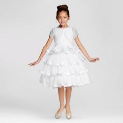 Girls' Mia Sophia Satin Trimmed Communion Dress w Jacket - White
