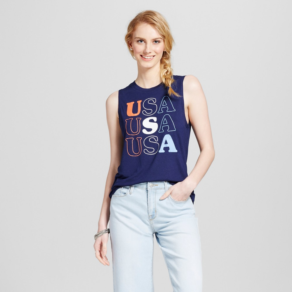Womens USA Americana Tank Navy Blue XS - Modern Lux (Juniors)