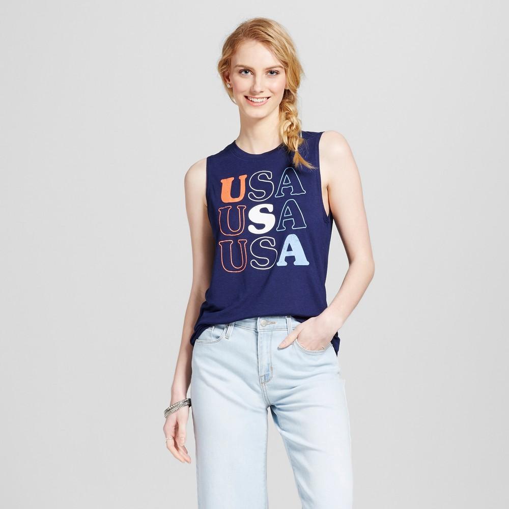 Womens USA Americana Tank Navy Blue S - Modern Lux (Juniors)