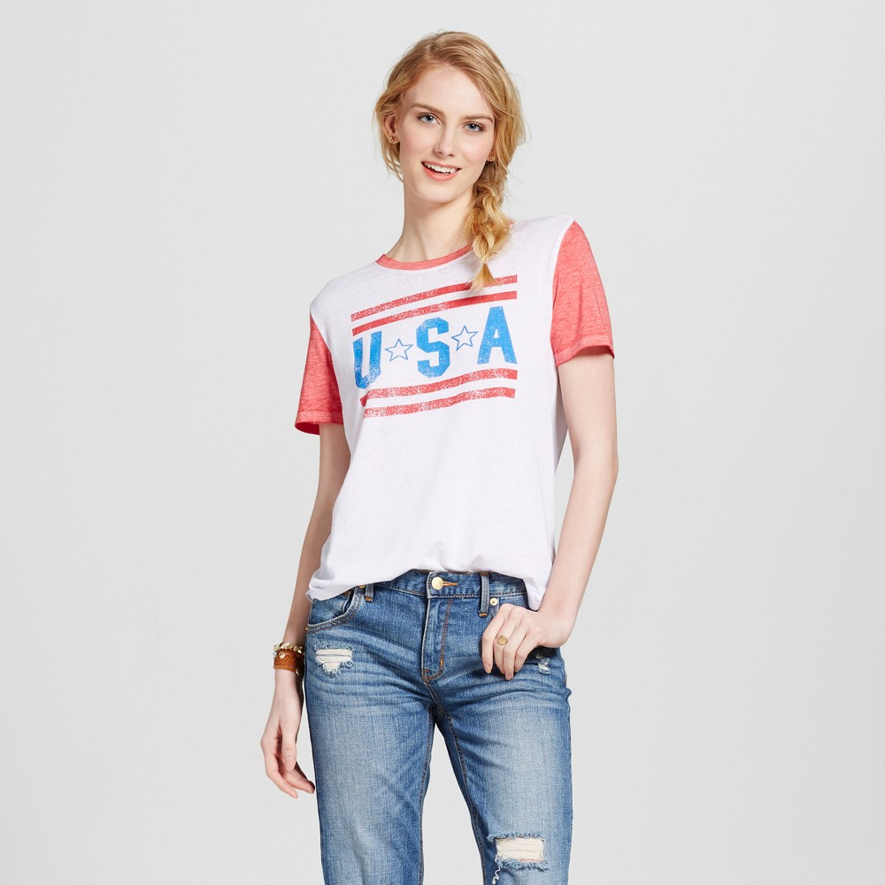 Womens USA Americana Ringer T-Shirt White L - Modern Lux (Juniors)