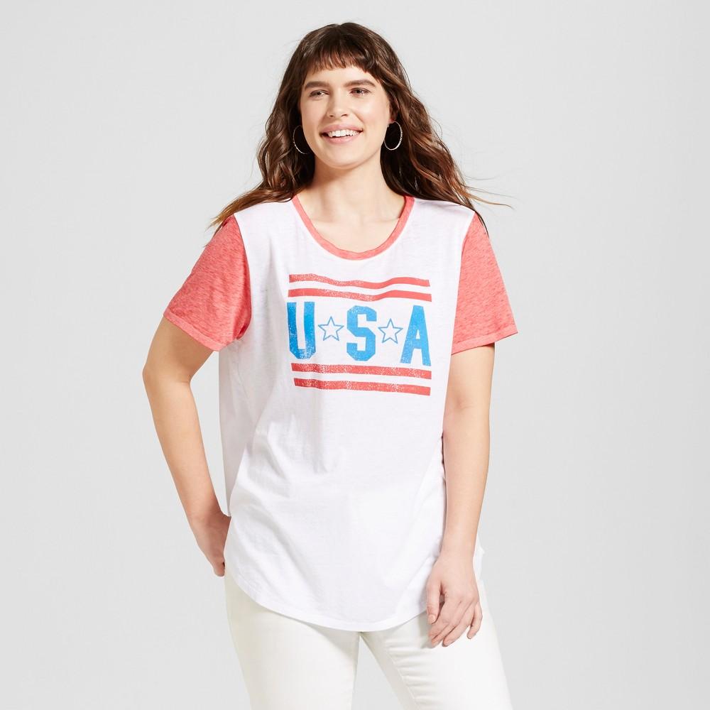 Women's Plus Size USA Americana Ringer T-Shirt White 1X - Modern Lux