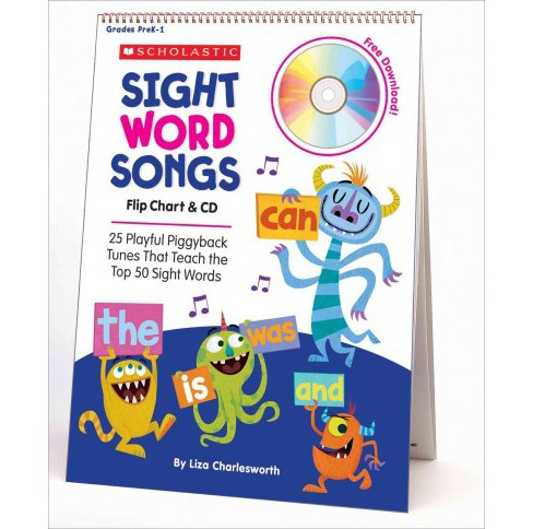 Sight Word Songs Flip Chart : 25 Playful Piggyback Tunes That Teach the Top 50 Sight Words (Paperback) - image 1 of 1