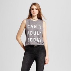 Women's Can't Adult Today Muscle Tank Heather Gray - Fifth Sun (Juniors')
