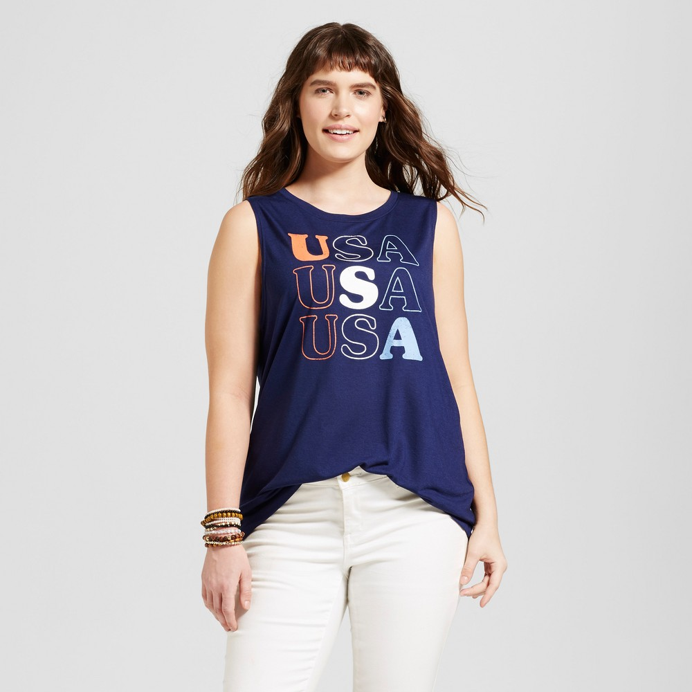 Womens Plus Size USA Americana Tank Navy Blue 2X - Modern Lux