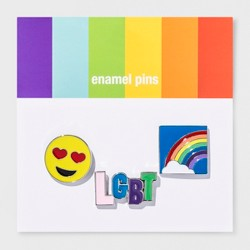 Pride LGBT Rainbow Heart Eyes Enamel Pin Set