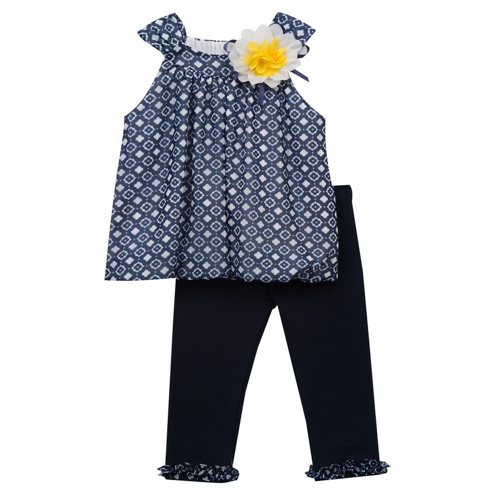 Rare, Too! Baby Girls Chiffon Top & Knit Leggings Set - Navy 24M, Size: 24 M, Blue