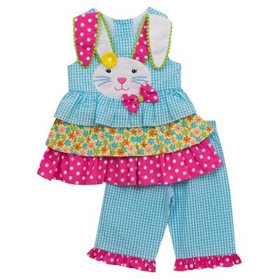 Rare, Too! Baby Girls' Print Mix Capri Set - Turquoise 6-9M