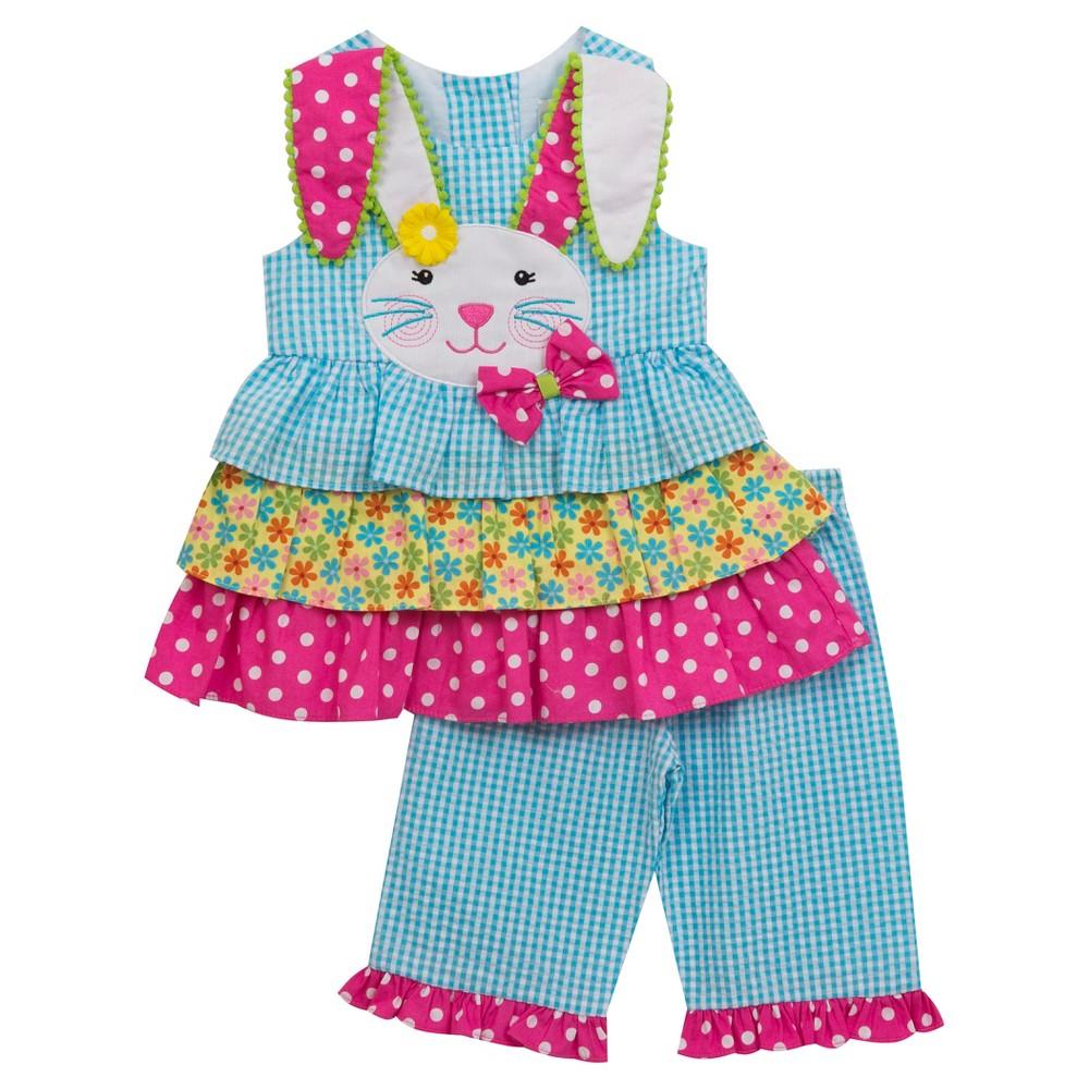 Rare, Too! Baby Girls Print Mix Capri Set - Turquoise 6-9M, Size: 6-9 M, Blue