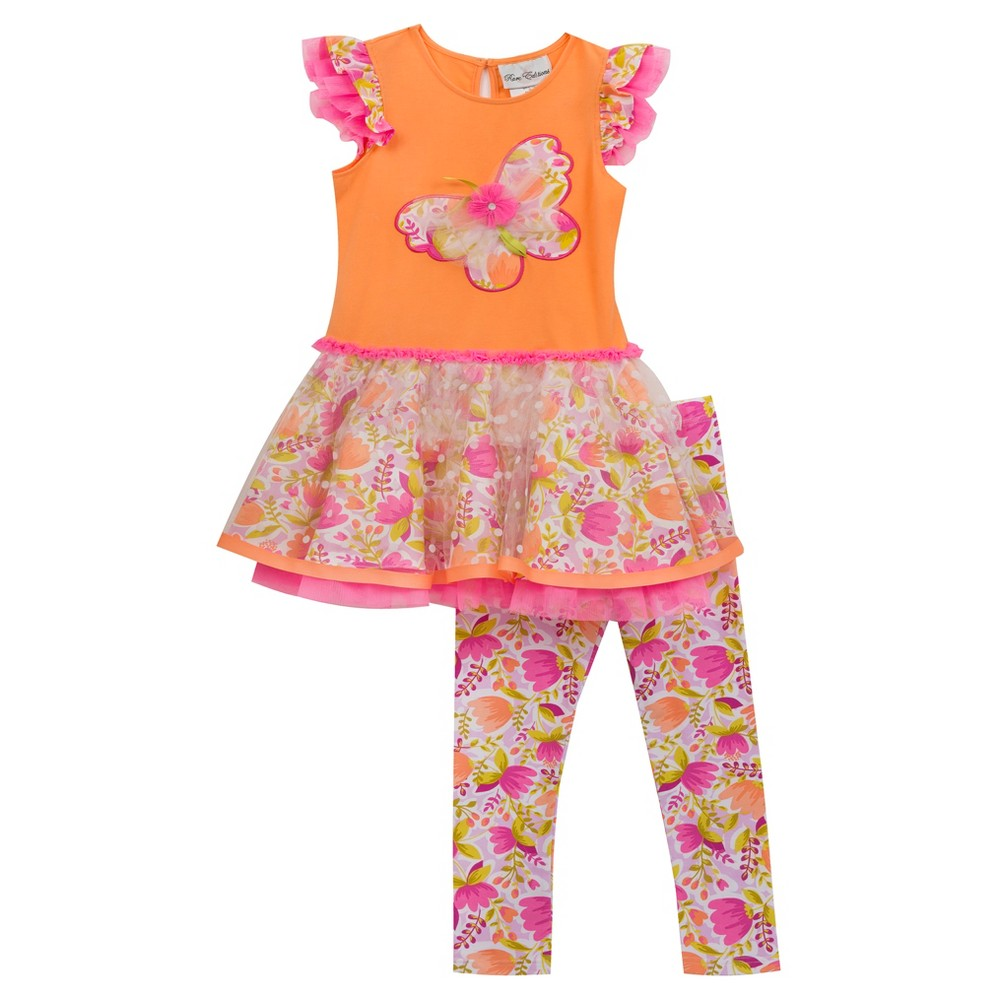 Rare, Too! Baby Girls Floral Tutu Skirt Set - Orange 18M, Size: 18 M