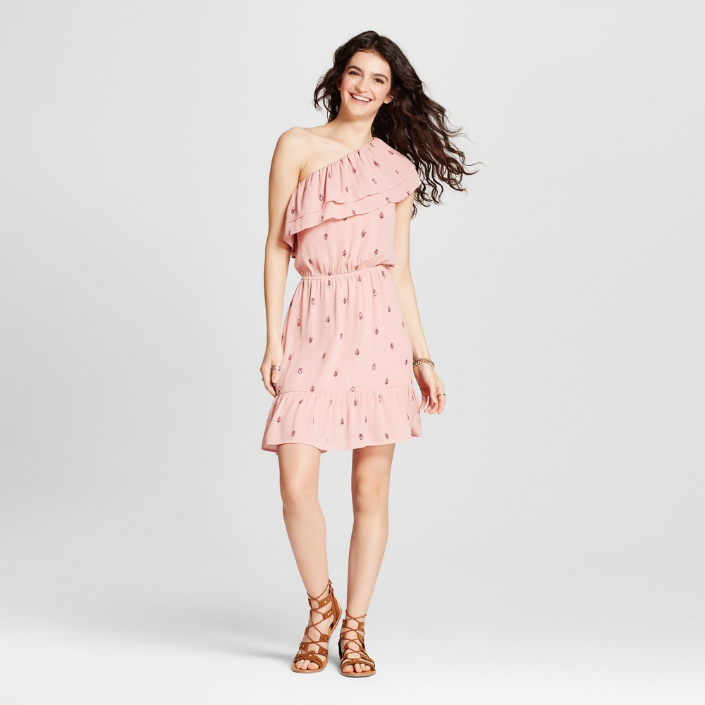 Womens One Shoulder Ruffle Dress - Mossimo Supply Co. Blush Print XL, Pink