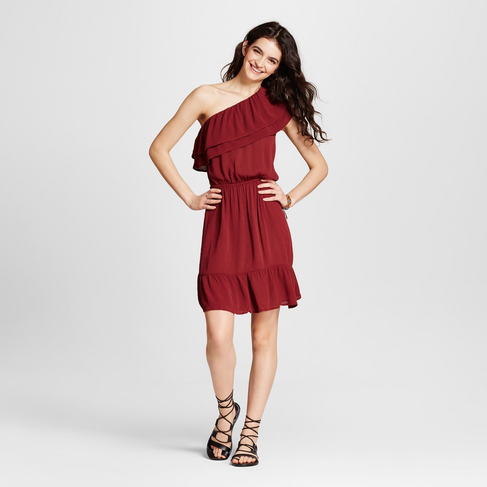 Womens One Shoulder Ruffle Dress - Mossimo Supply Co. Burgundy M, Red