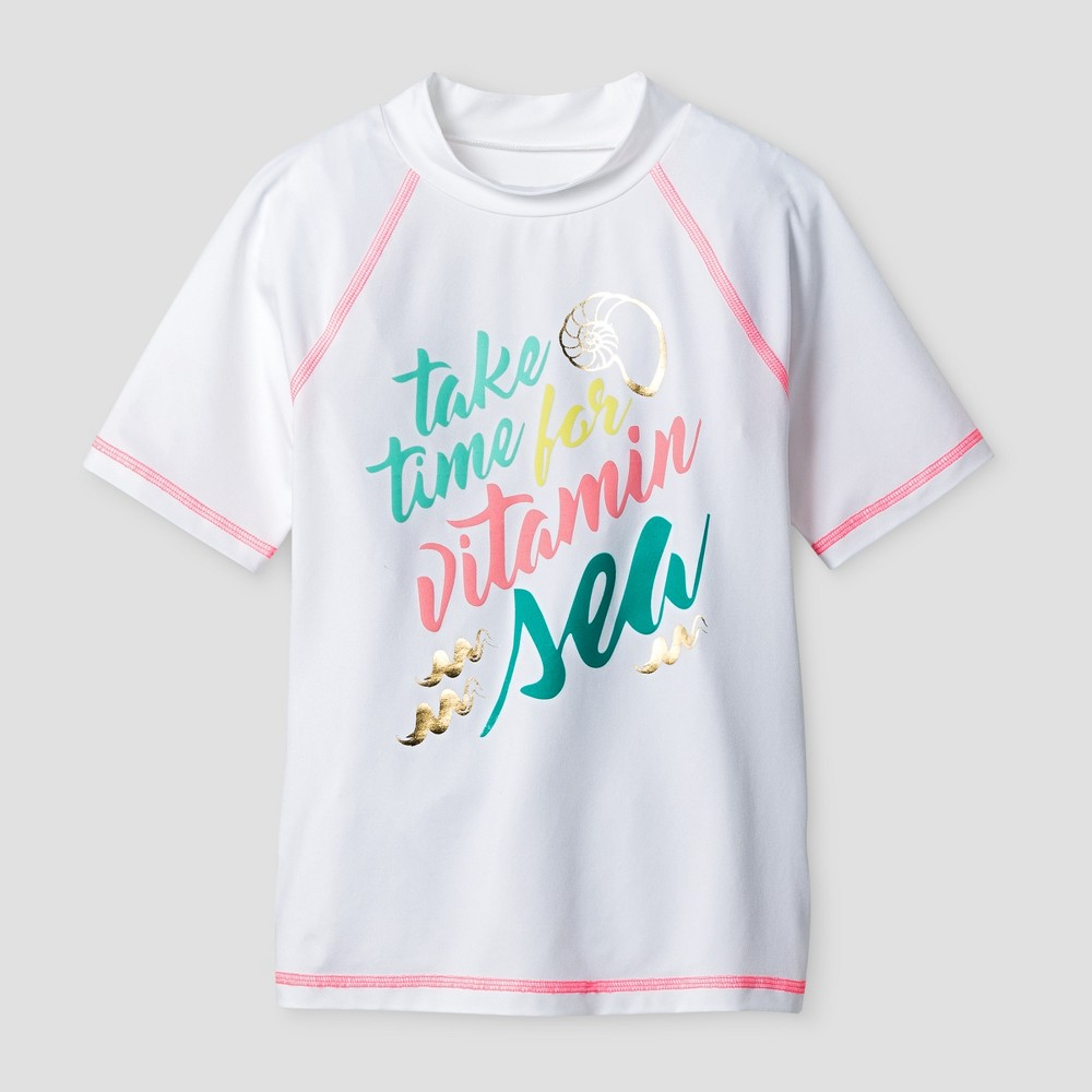 Girls Short Sleeve Rashguard - Cat & Jack White M