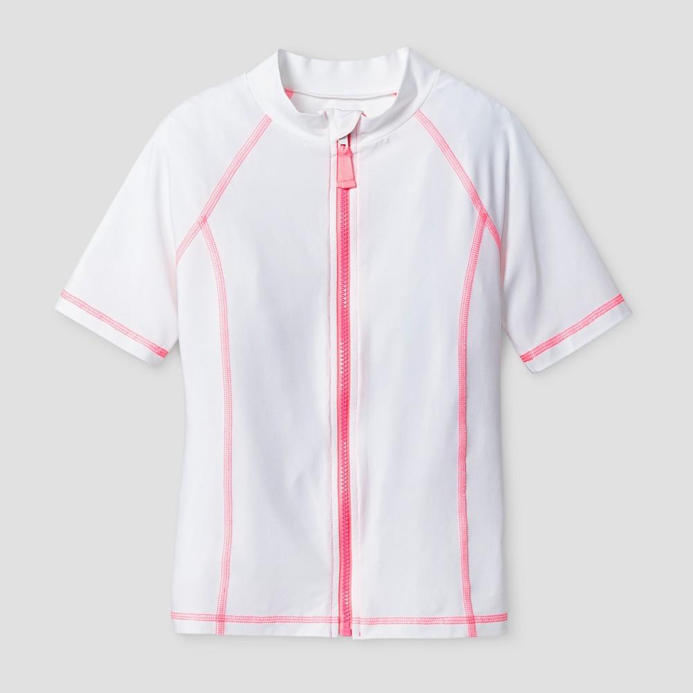 Girls Short Sleeve Rashguard Full Zip - Cat & Jack Blue XS, White